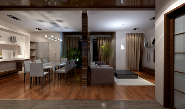 Интерьера гостиной и столовой в доме